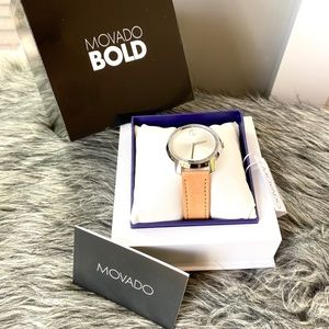NWT authentic MOVADO Bold leather silver watch
